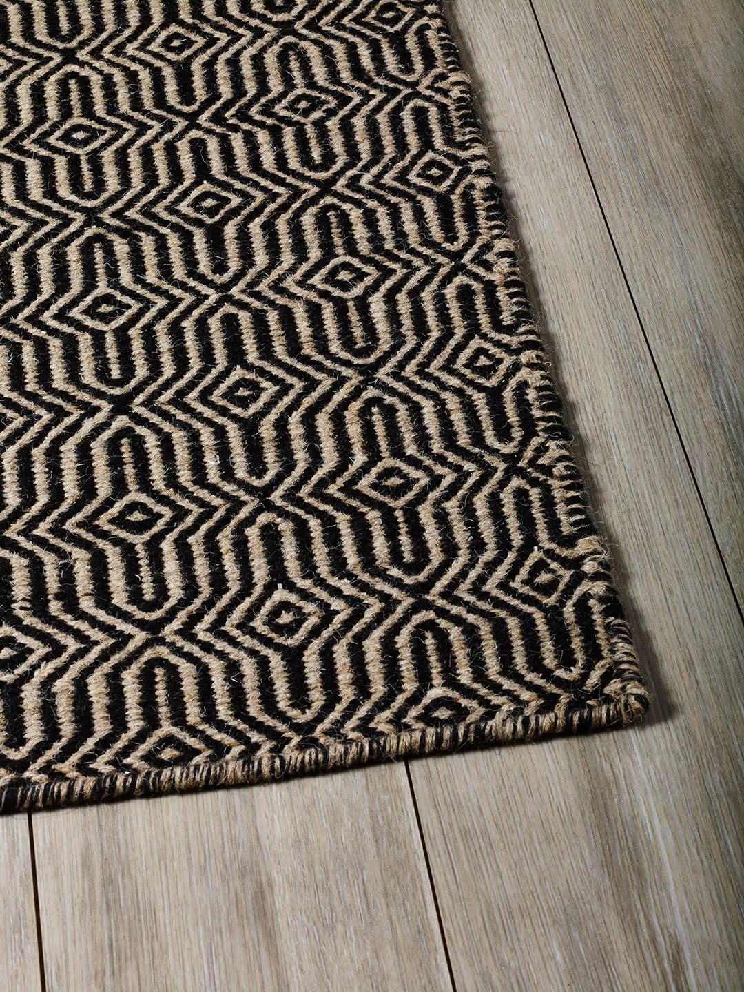 Black-Beige pure wool rugs Perth