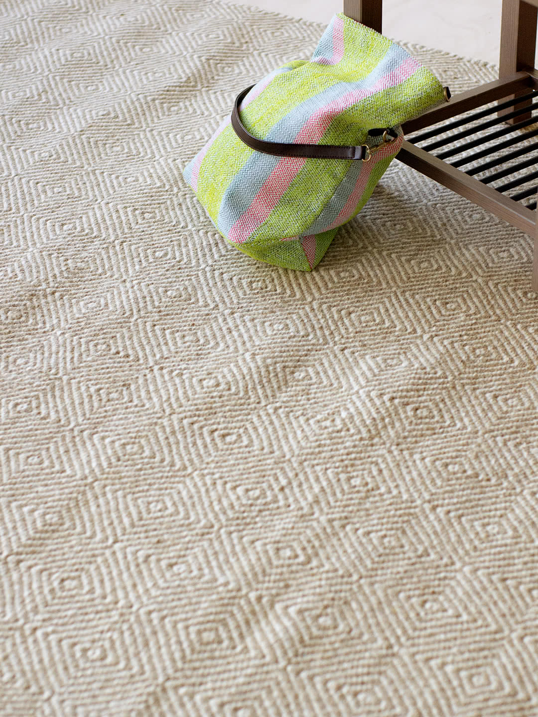 Braid Diamond-Natural Beige pure wool rugs Perth
