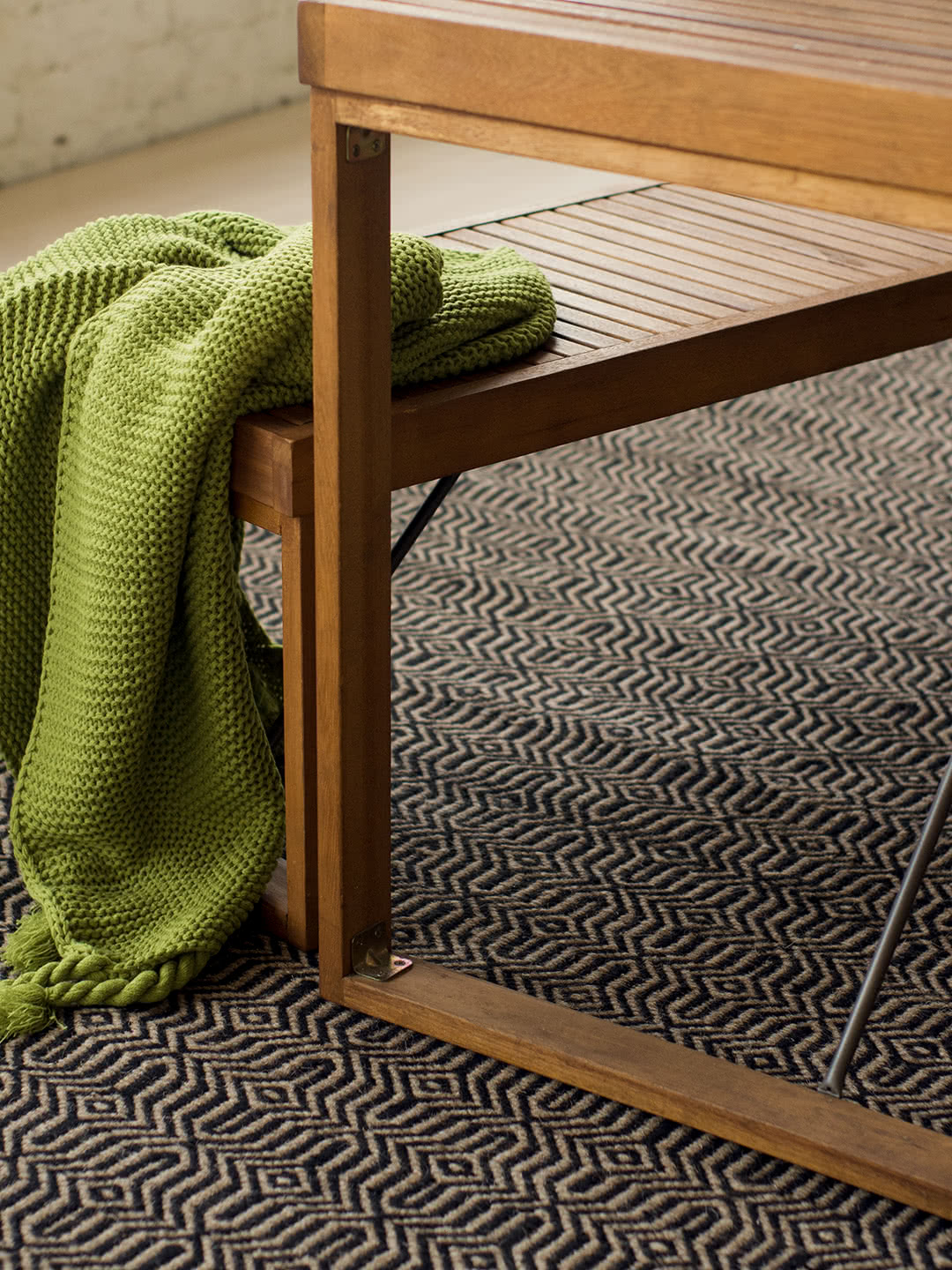 Braid Fusion-Black Beige pure wool rugs Perth