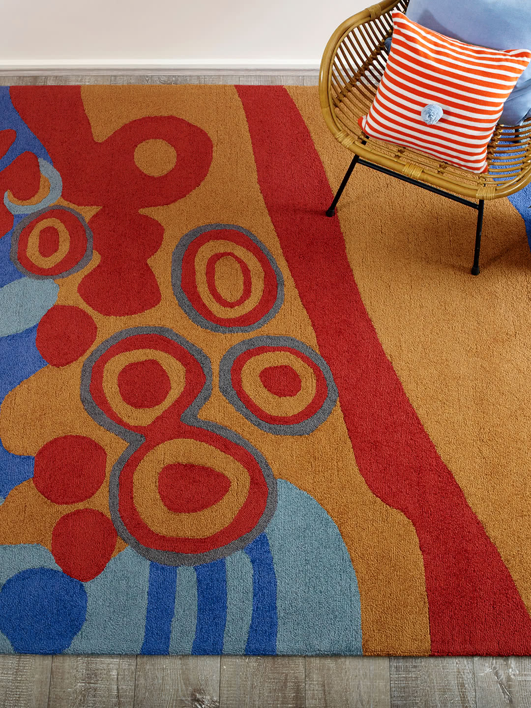bucca-perth-aboriginal-rug-wool-stans-kid designed-colourful