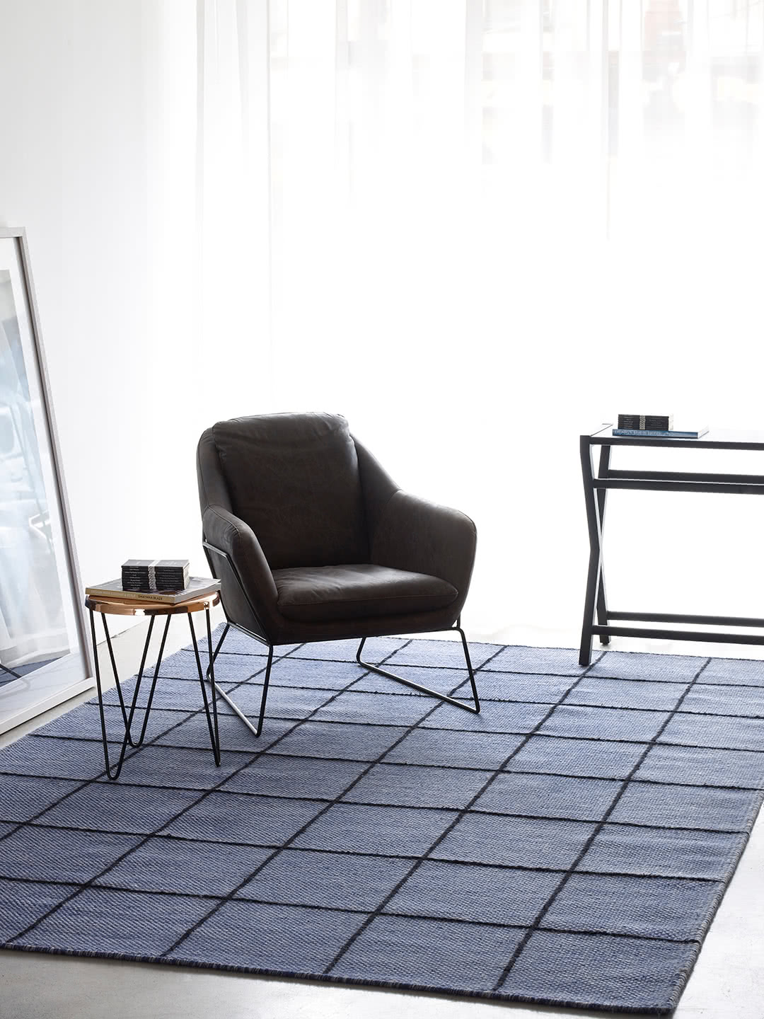 Resolve-Ink Blue wool and art silk rugs Perth