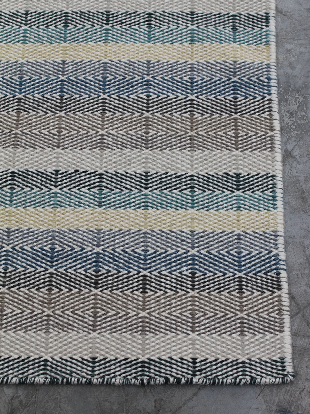 Teal-Sand-Corner pure wool rugs Perth