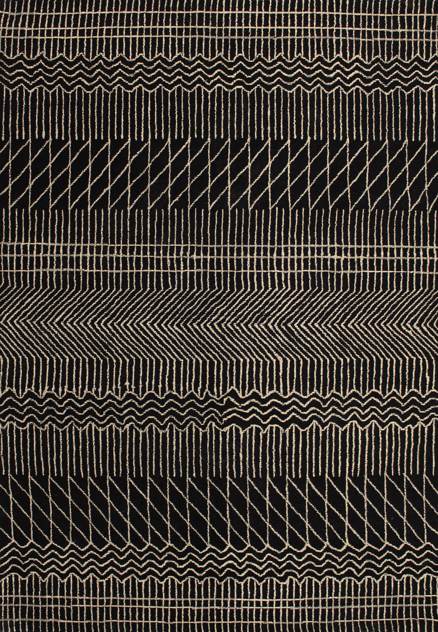 braid-kilim-broken-lines-black-hand-woven-flat-weave-pure-wool-rugs-perth