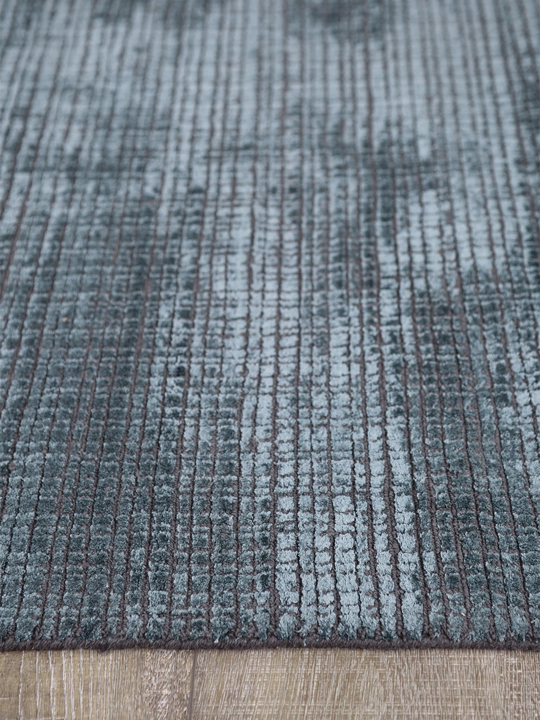 Lava Teal hand loom knotted wool and art silk rug