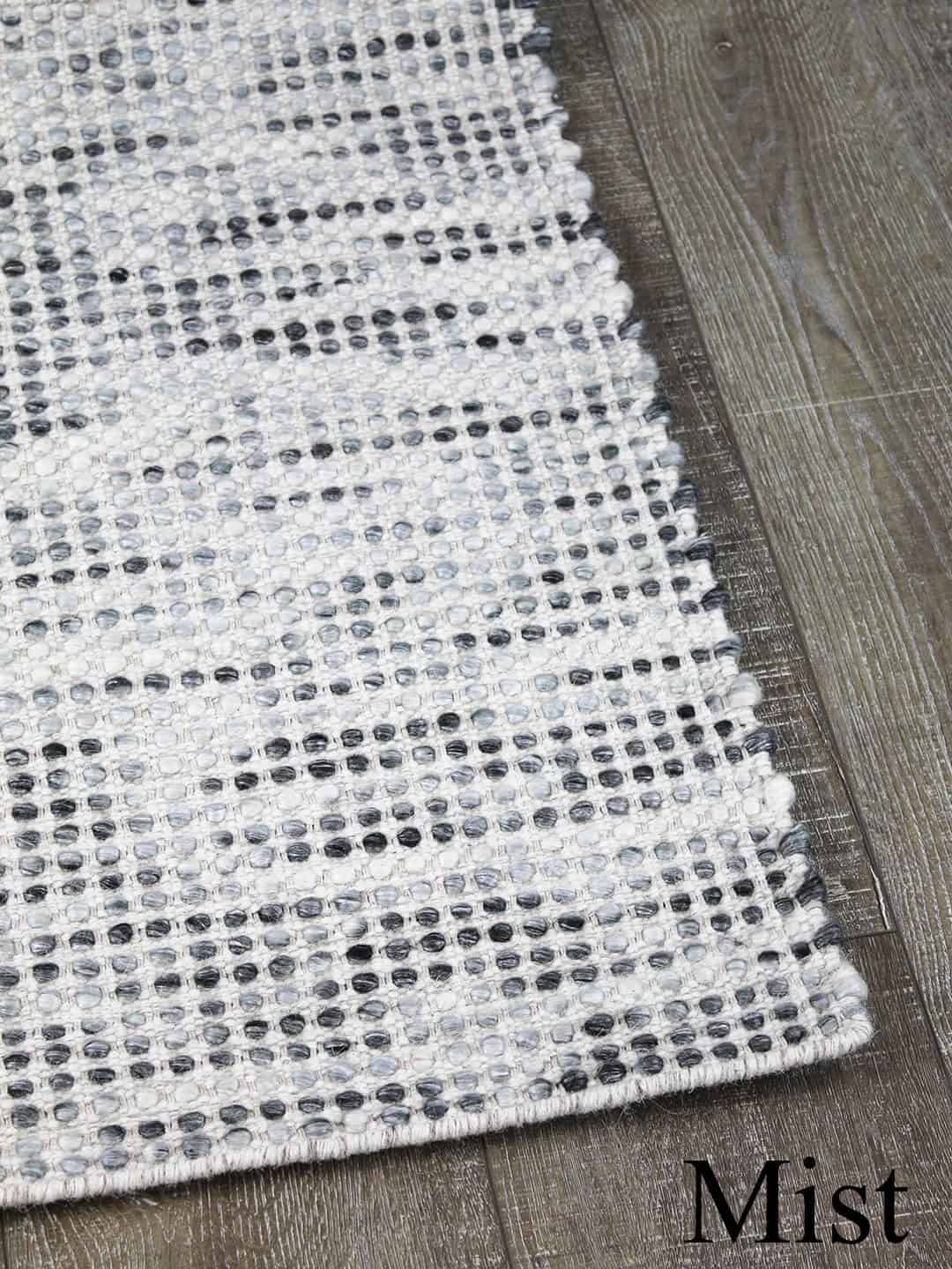 Kobe mist hand woven pure wool flat weave rug stans rug centre